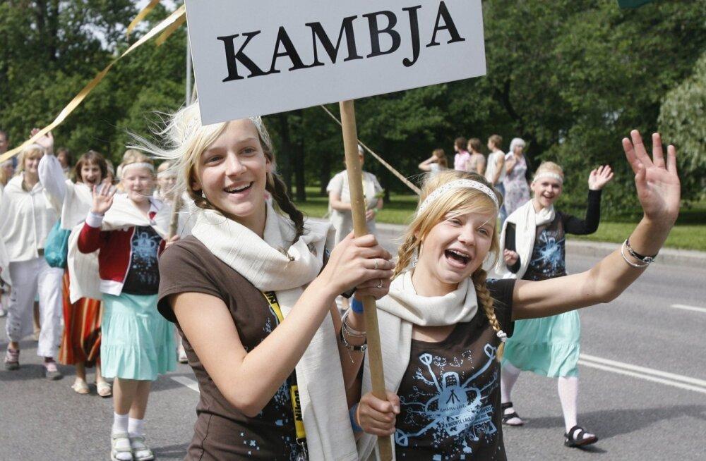 Kambja esindus noorte laulu- ja tantsupeol.
