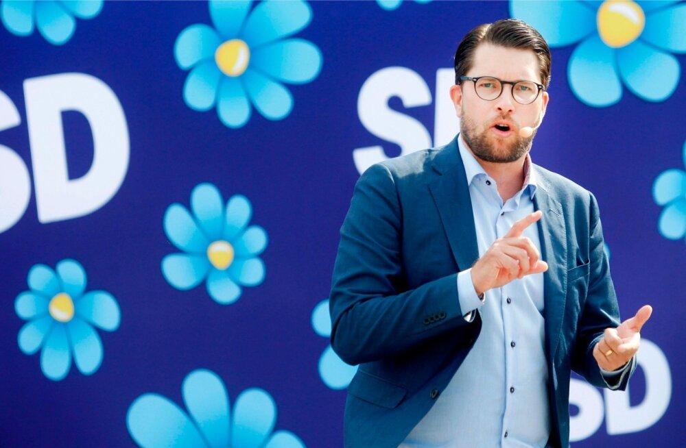 SD juhi Jimmie Åkessoni esinemised on kuivad ja rahulikud, sakilised ruunikirjad on vahetatud siniste lillekeste vastu. Tulemuseks on kiiresti tõusev toetus.