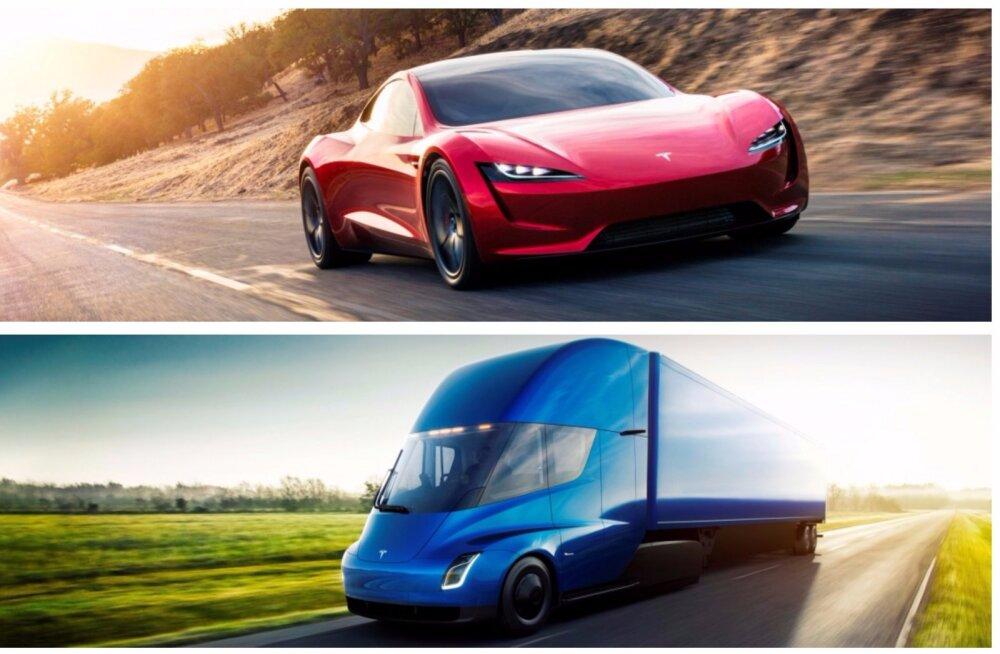 GALERII | Tesla kaks tuttuut mudelit piltidel: veok Semi ja sportlik Roadster