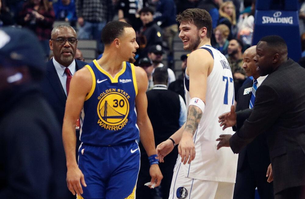 VIDEO | NBA-s nähti ühel õhtul nelja 40 punkti mängu, Curry tabas 11 kolmest ja alistas napilt Doncici ja Mavsi