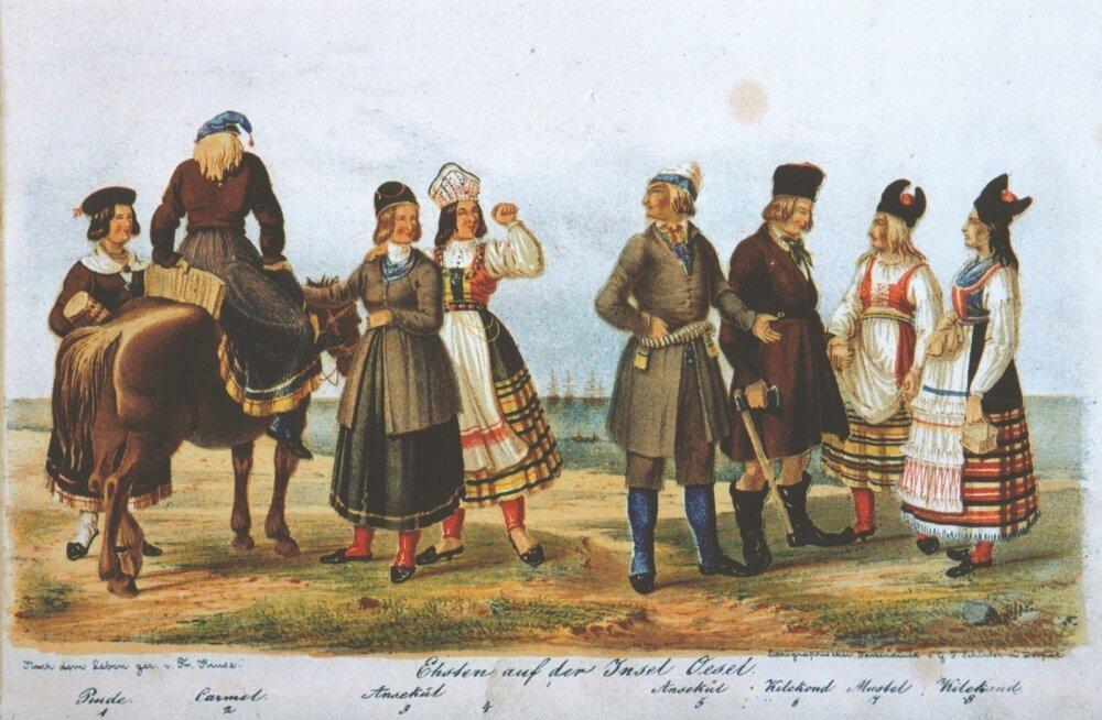 Saare naised, kanged naised. F. Kruse. Necrolivonica, 1842.