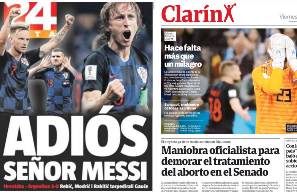 ESIKÜLGEDE ÜLEVAADE | Kuidas reageerisid eilsele šokktulemusele Horvaatia ja Argentina ajalehed?