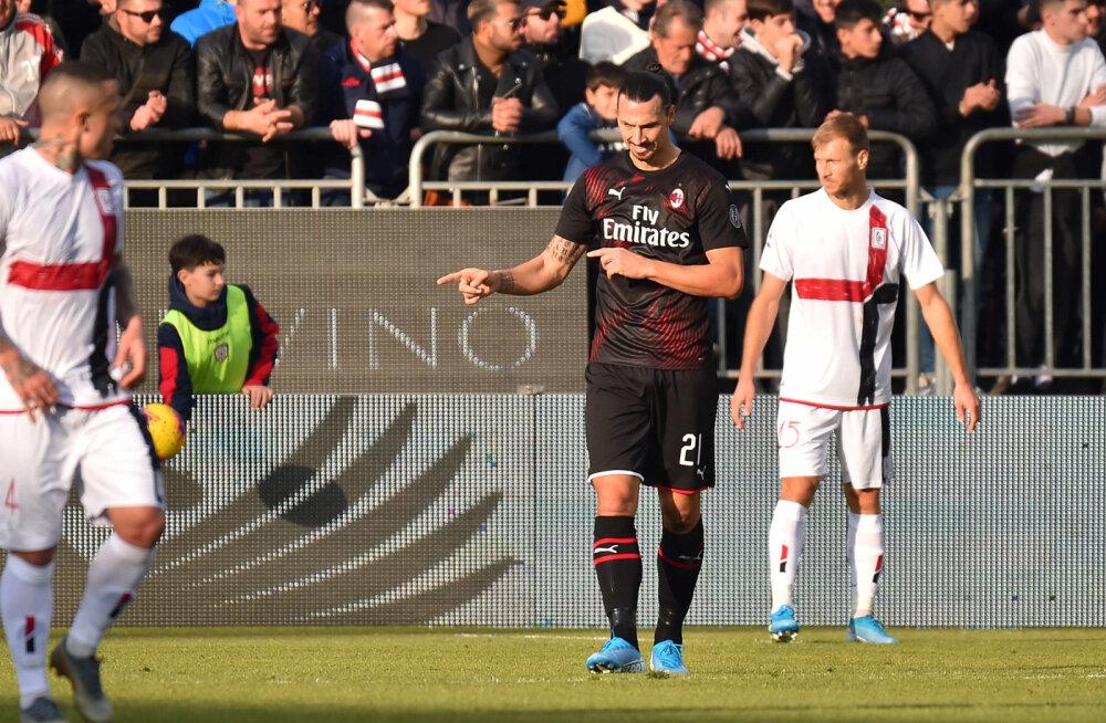 VIDEO   Klavan ja Cagliari ei saanud AC Milaniga hakkama, Zlatan avas väravaarve