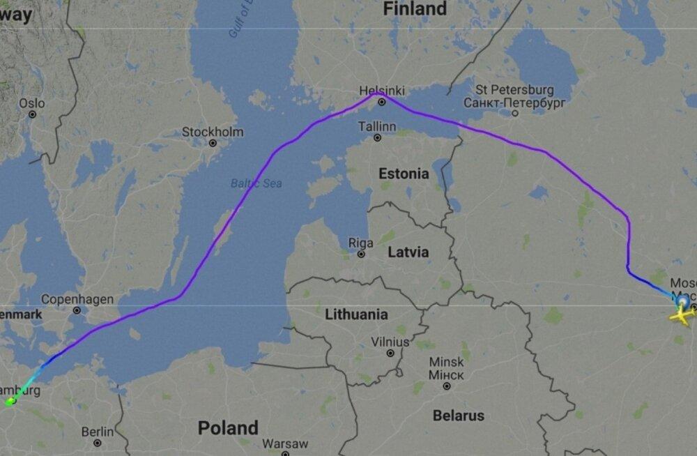 Putini lennuki trajektoor