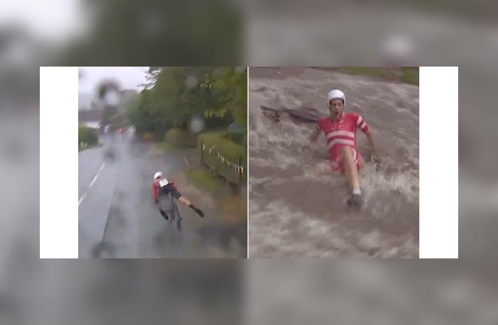 Jalgrattasõidu MM-il on vihm tekitanud kõvasti paanikat.