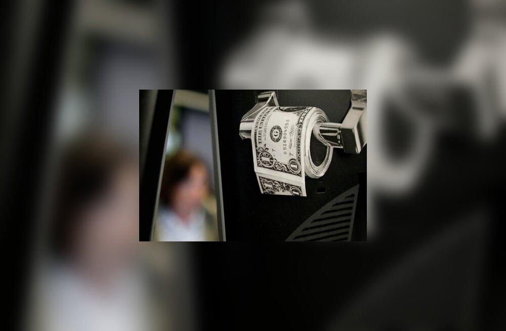 Dollarimärgistusega tualetipaberi ajakirjaväljalõige Frankfurdi börsil.