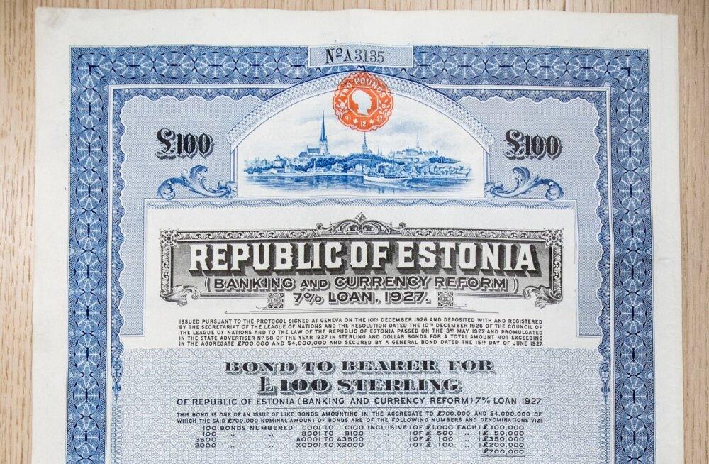 Eesti on taas tulnud võlakirjaturule. Sõjaeelse Eesti vabariigi võlakiri