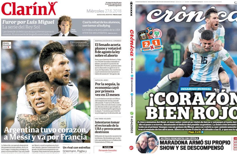 ESIKÜLGEDE ÜLEVAADE   Koondise edasipääsu kuulutavad Argentina ajalehed on uskumatult sarnased