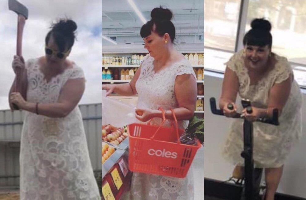 VAATA | Kleiti täie raha eest! See nutikas naine keeldub oma pulmakleiti kapis hoidmast ja kannab seda iga päev ja igal pool