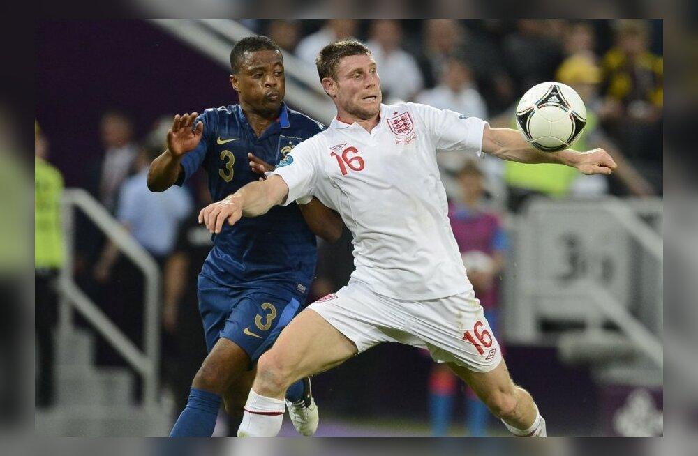 Patrice Evra ja James Milner, Prantsusmaa vs Inglismaa