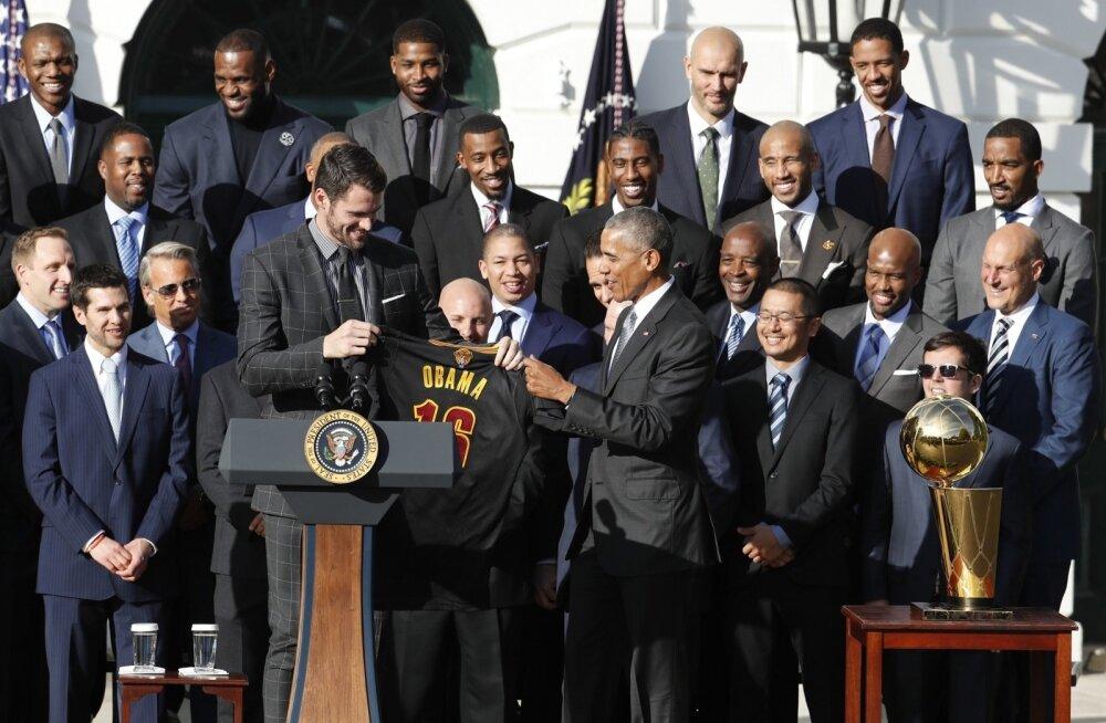 NBA meisterklubi Cleveland Cavaliers Barack Obama vastuvõtul