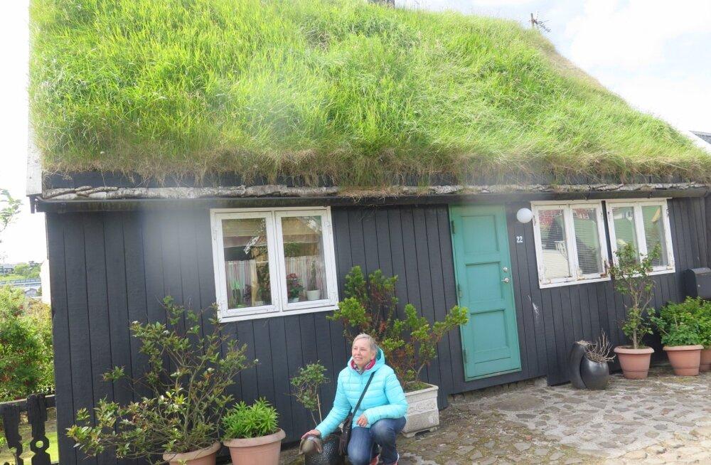 Mätaskatusega majad Torshavnis.