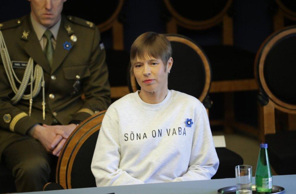 KLÕPS | President Kersti Kaljulaid saadab ühiskonnale oma pluusiga sõnumi