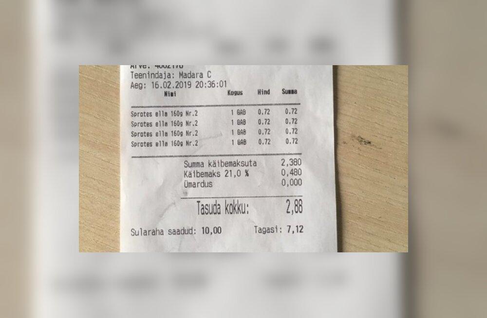 FOTO   Ainaži alkoholipood annab välja eestikeelseid tšekke, Läti Riigikeele Keskus on hämmastuses