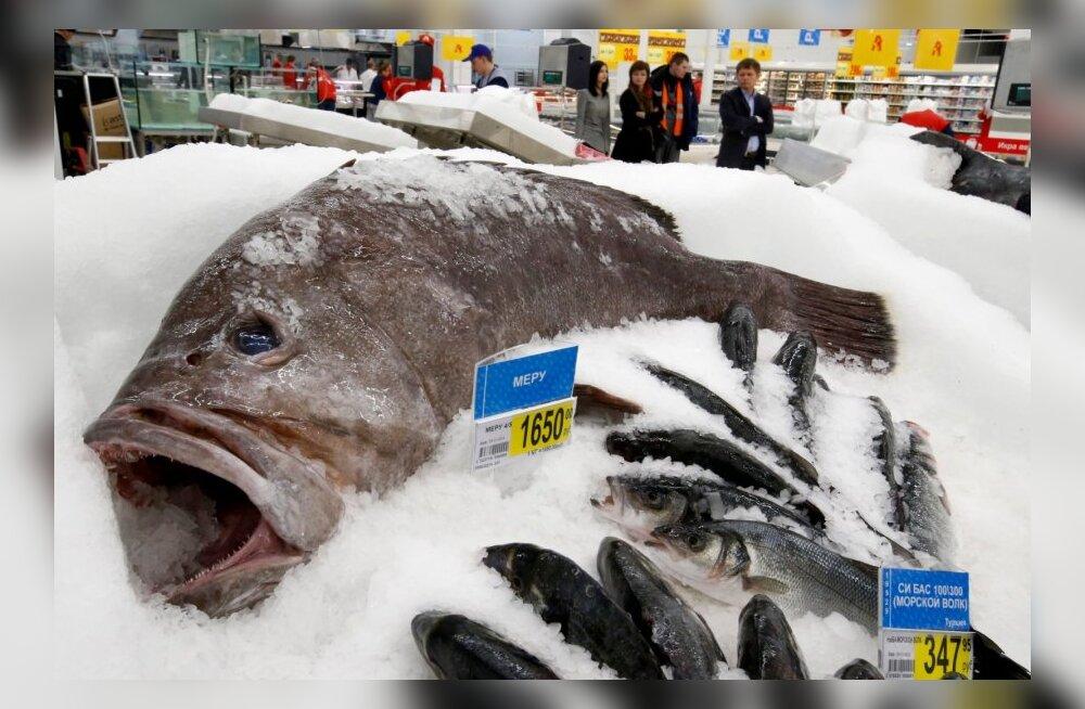 Külmutatud kala Moskva toidupoes.