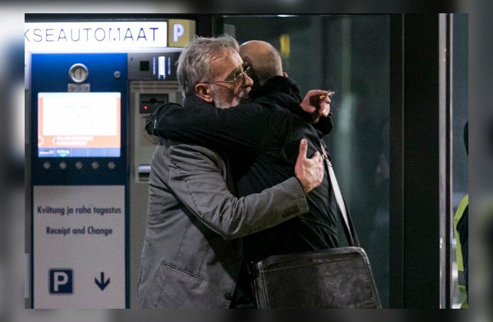 Lembit Ulfsak ja Zaza Urušadze Tallinna lennujaamas