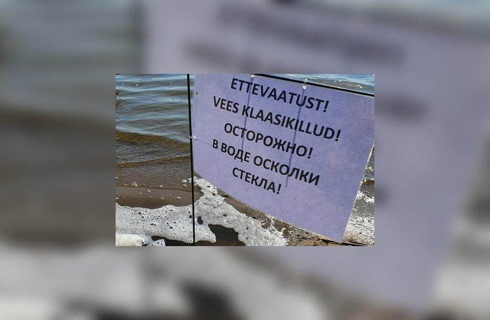 FOTO   Ettevaatust! Harku järves suplejaid ohustavad klaasikillud