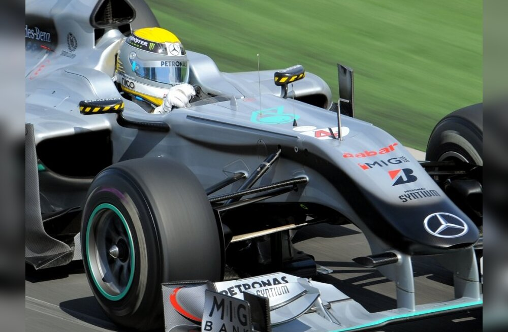 Mercedes driver Nico Rosberg of Germany speeds through a corner during the first practice session for Formula One's Australian Grand Prix, in Melbourne on March 26, 2010.  Drivers opened on March 26 the first practice session for the Australian Grand Prix
