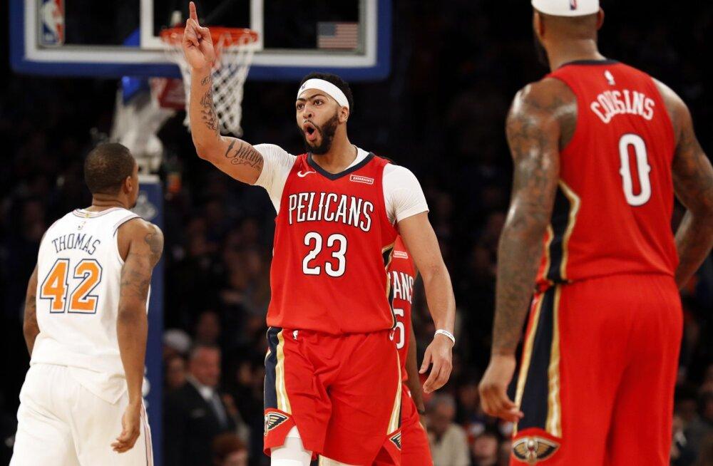 VIDEO | Anthony Davise supermäng vedas Pelicansi võidule Porzingise ja Knicksi üle