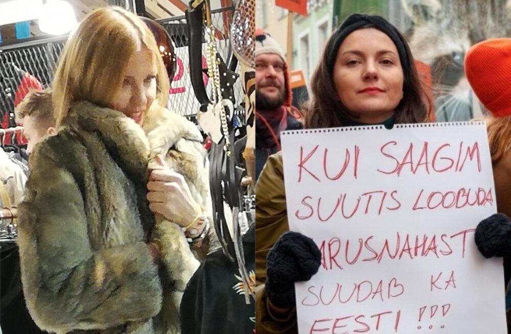 FOTOD | Karusnahast loobunud Anu Saagim valis poes luksuslikku hundikasukat: ups, ma tegin seda jälle!