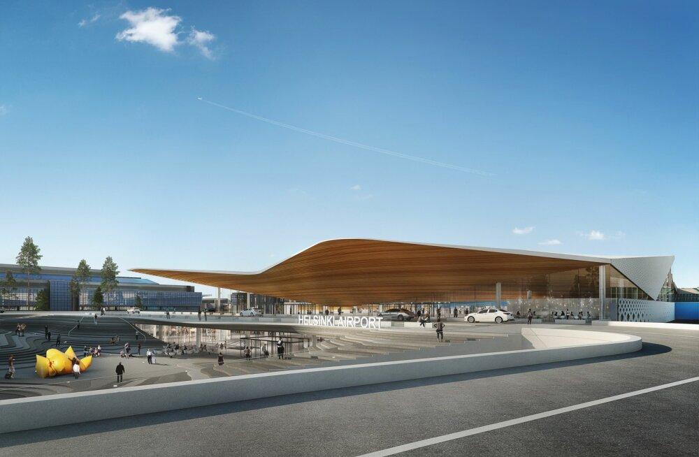 Helsingi Vantaa lennujaama tulevane sissepääs ja siseväljak