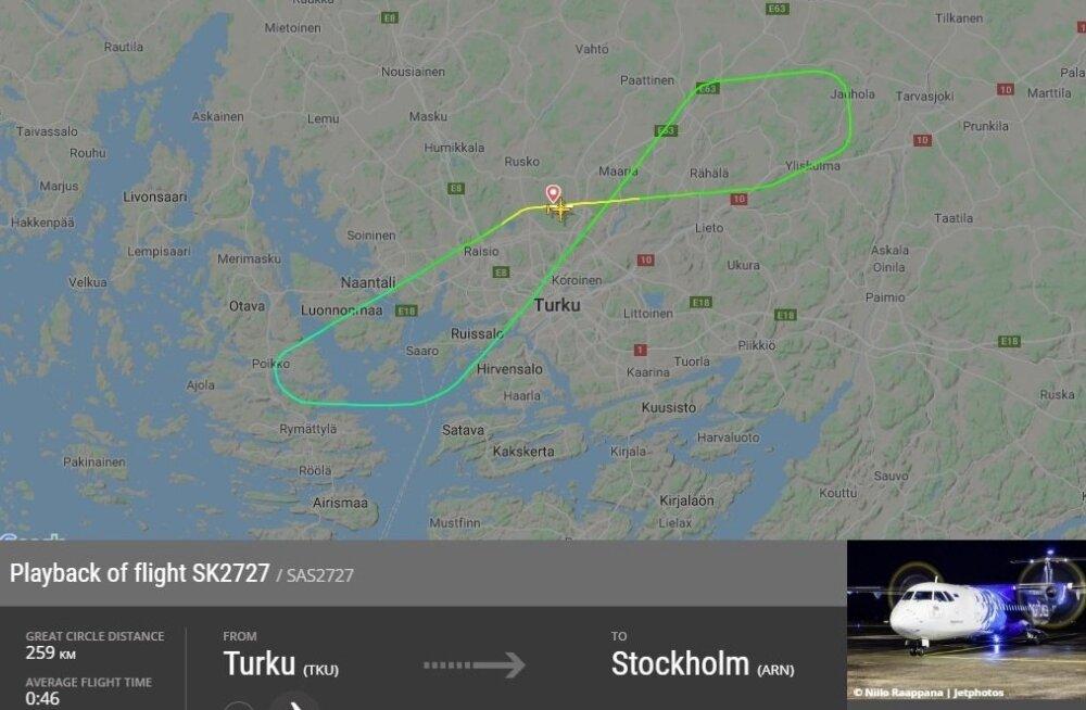 Самолет Nordica из-за технических проблем вернулся в аэропорт вылета. Его встречали 15 машин спасателей
