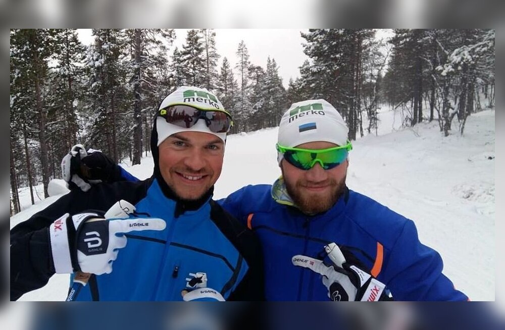 Kuusamo MK-etapi sprindi punktimehed Raido Ränkel (vasakul) ja Marko Kilp, veel habemega