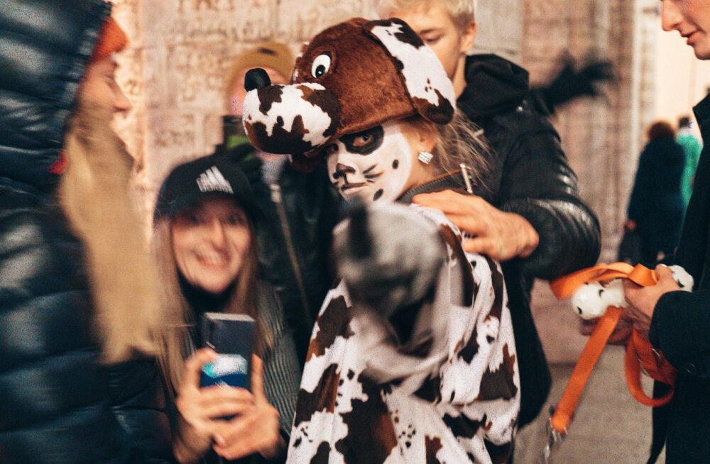 Võistluse kaotanud näitlejatar oli sunnitud Raekoja platsil karistuseks koera mängima
