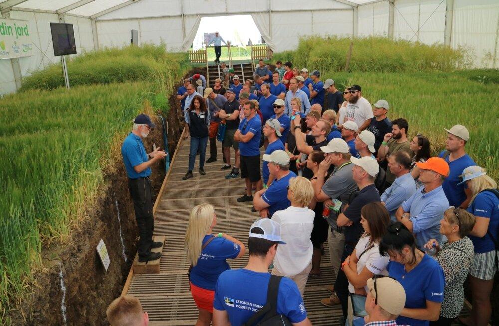Eesti viljakasvatajad said Borgeby messil selleks, et neid ära tuntaks, selga ühesugused sinised särgid.