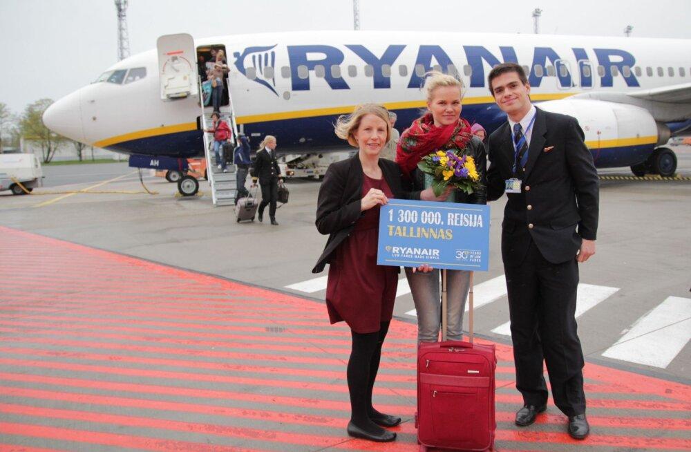Ryanair tähistas 1 300 000. reisija täitumist Tallinnast lendamisel