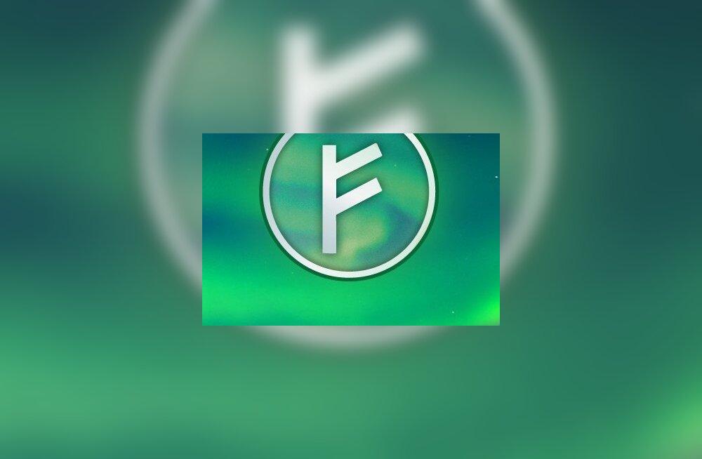 Auroracoini sümbol, ruunitäht F. auroracoin.org