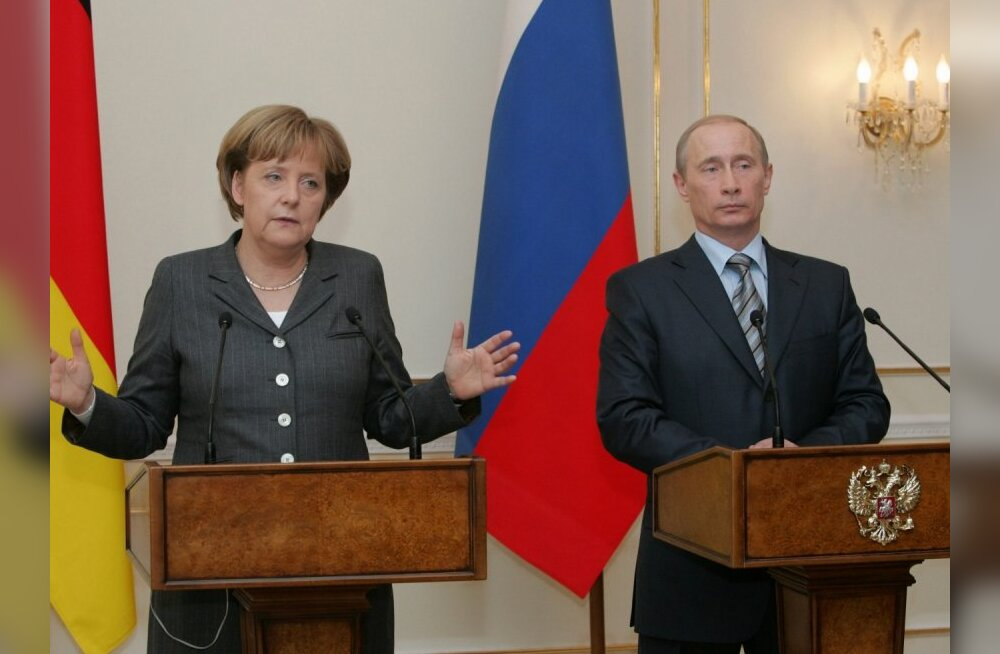 March 8, 2008. German Chancellor Angela Merkel and President Vladimir Putin hold a news conference after their talks in Novo Ogaryovo near Moscow.