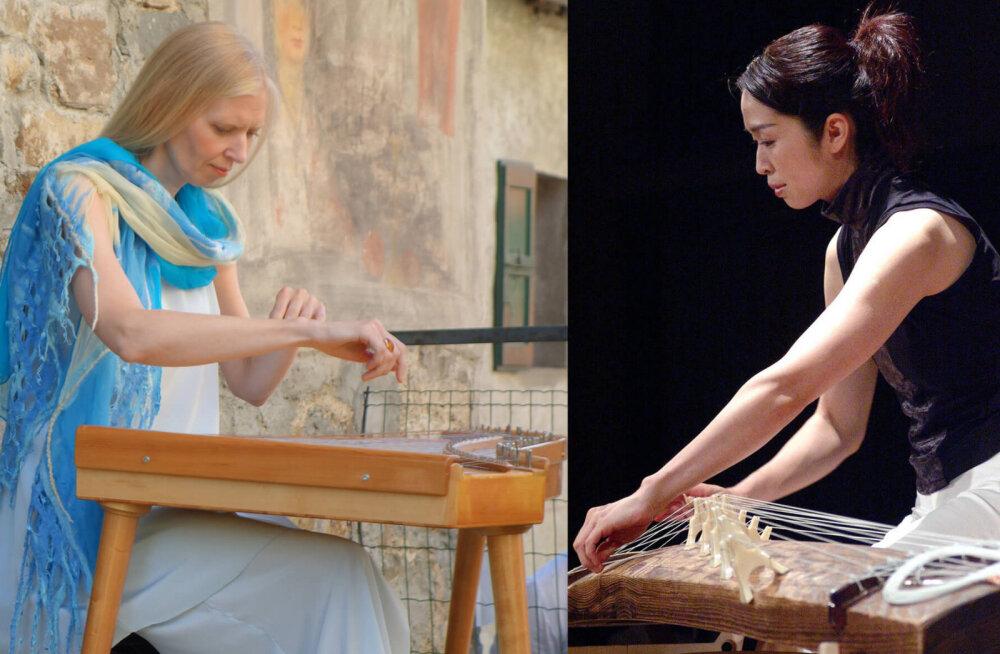Eesti kandlemängija Kristi Mühling ja Jaapani koto-mängija Naoko Kikuchi.