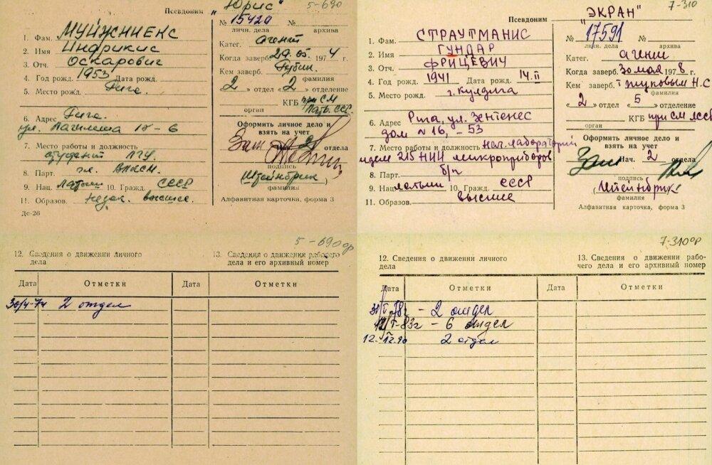 Läti rahvusarhiivi veebilehel näeb KGB kaastöölise nime, varjunime, sünniaega, ametit, elukohta ning värbajat.