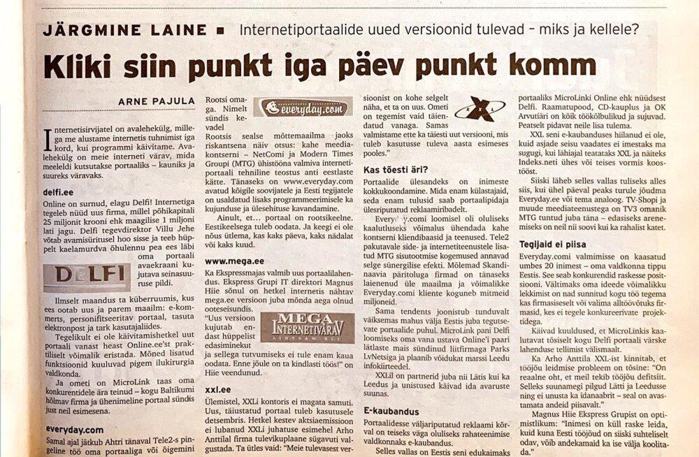 """Eesti Ekspress novembris 1999: """"Online on surnud, elagi Delfi!"""""""