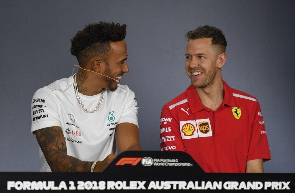 Lõbusas meeleolus Lewis Hamilton ja Sebastian Vettel