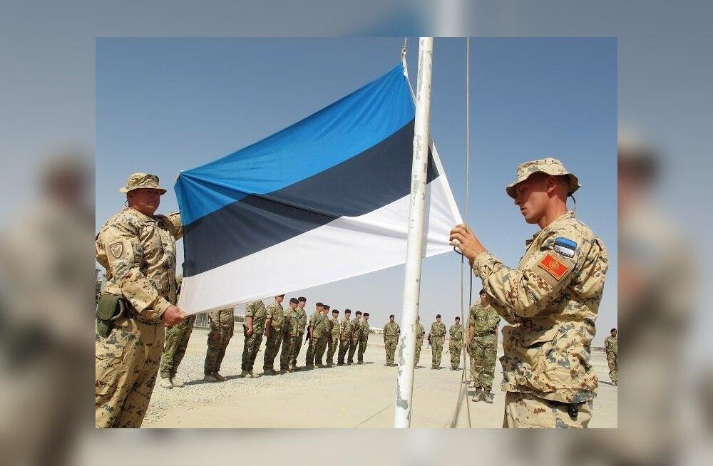 Eesti lipp langetati Afganistanis Helmandi provintsis Camp Bastionis endisel Camp Krati territooriumil 5. juunil 2014.