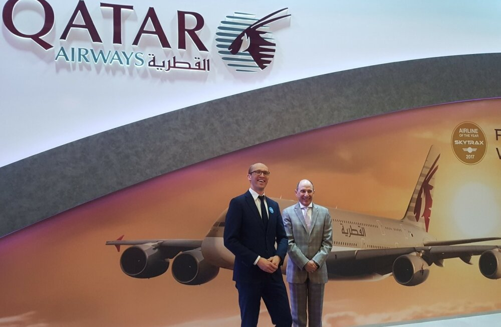 Tallinna lennujaama turundusjuht Eero Pärgmäe ja Qatar Airwaysi tegevjuht Akbar Al Baker