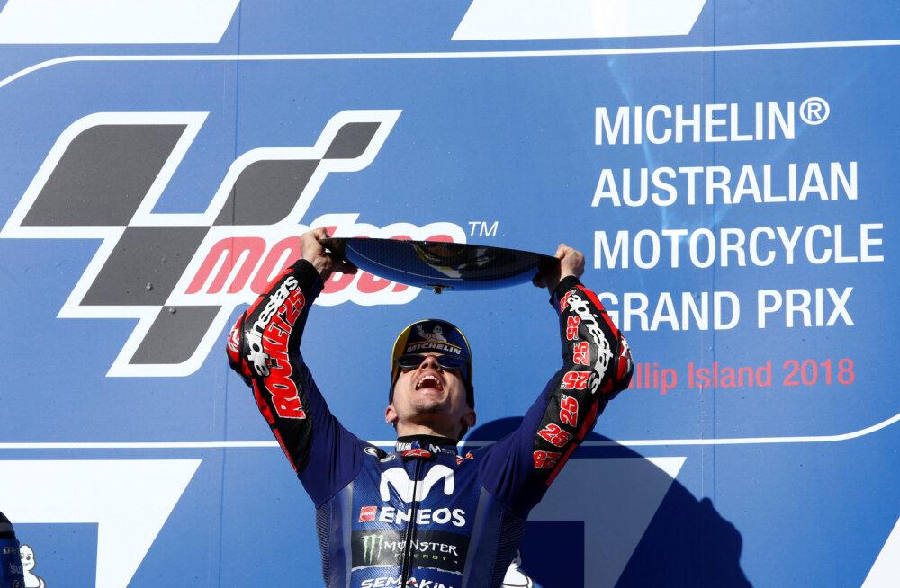 VIDEO | Vinales lõpetas MotoGP Austraalia etapi võiduga Yamaha pika võidupõua, maailmameister Marquez katkestas avarii tõttu