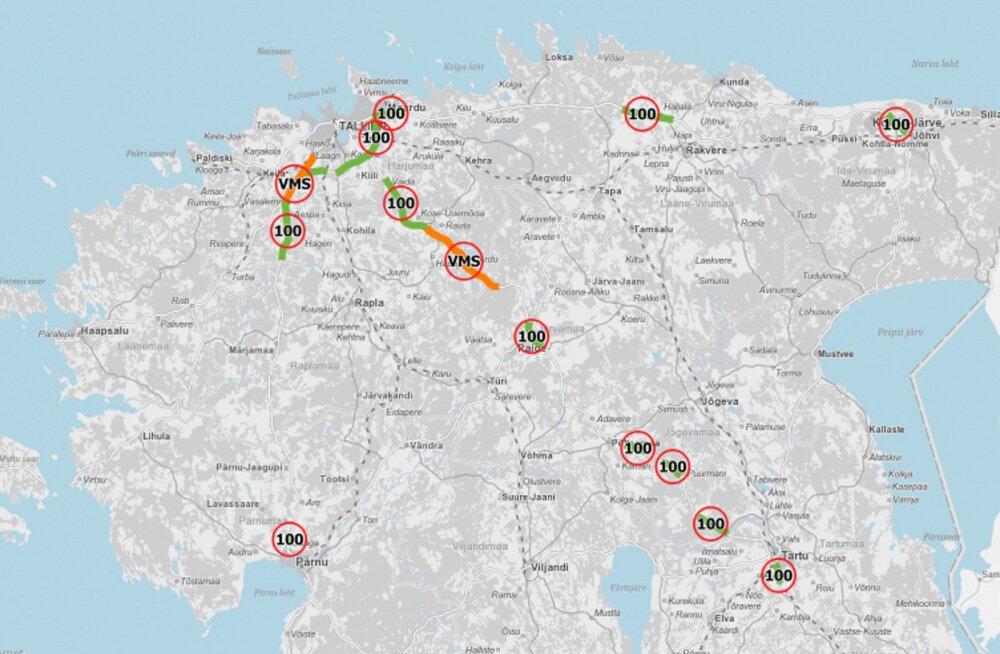 Tähelepanu, juhid: homsest tühistatakse 110 km/h