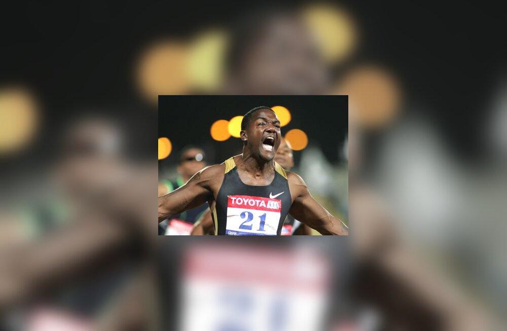 Justin Gatlini reaktsioon peale maailmarekordi püstitamist