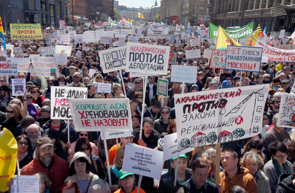 В Москве участники митинга против сноса пятиэтажек потребовали отставки Собянина