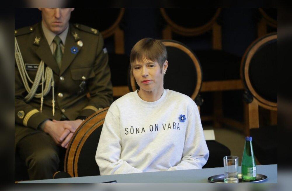 ФОТО: Кальюлайд пришла в Рийгикогу в кофте с либеральным месседжем на груди