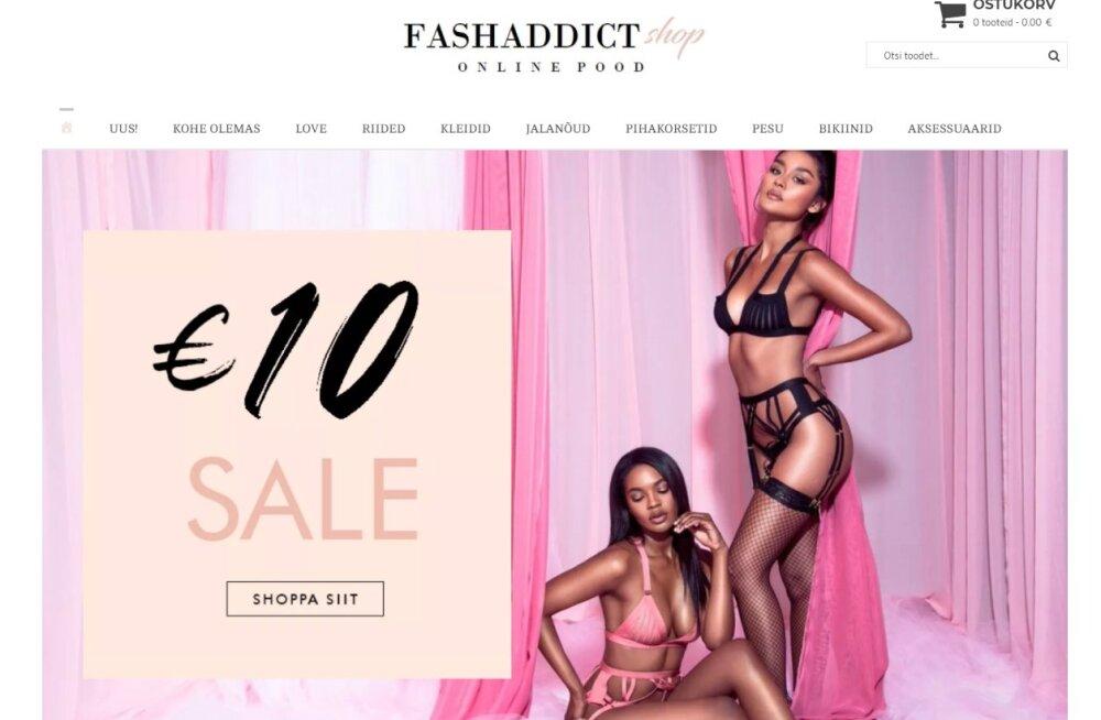 Kuvatõmmis Fashaddicti veebipoest