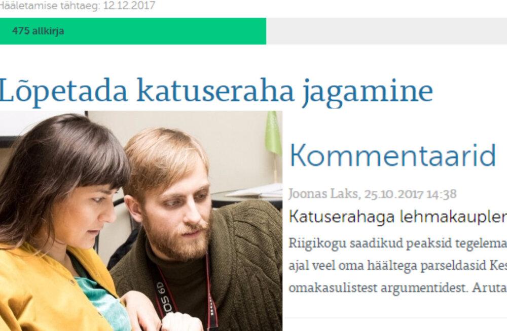 Sõnades üks, tegudes teine: roheline Joonas Laks sarjab veebis katuserahade süsteemi ja nuiab samal ajal parteidelt katuseraha