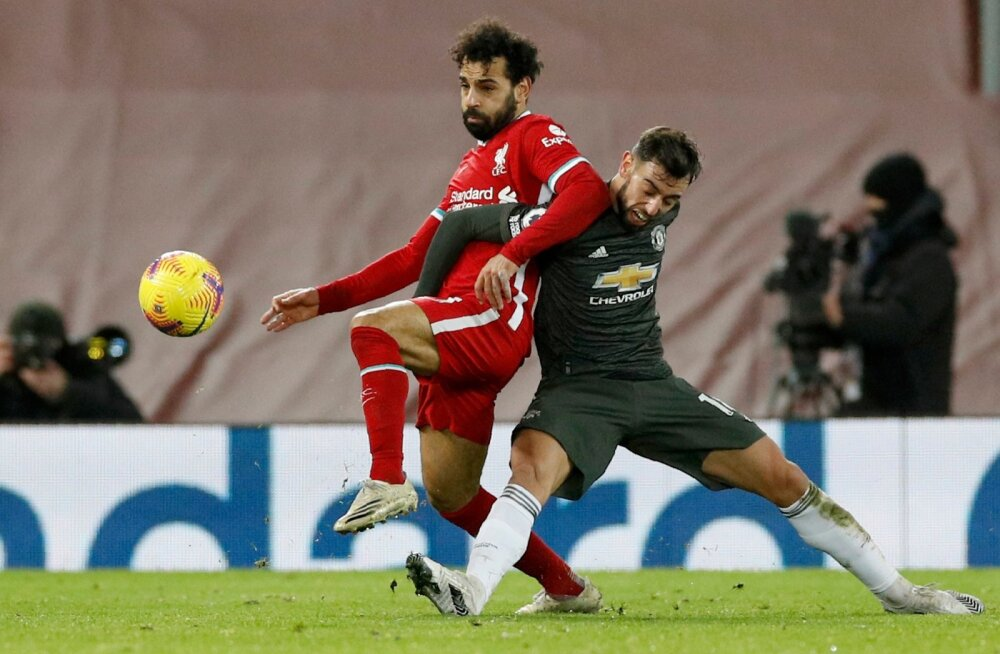 Mohamed Salah vs Bruno Fernandes. Sel korral jäid mõlemad kuivale.