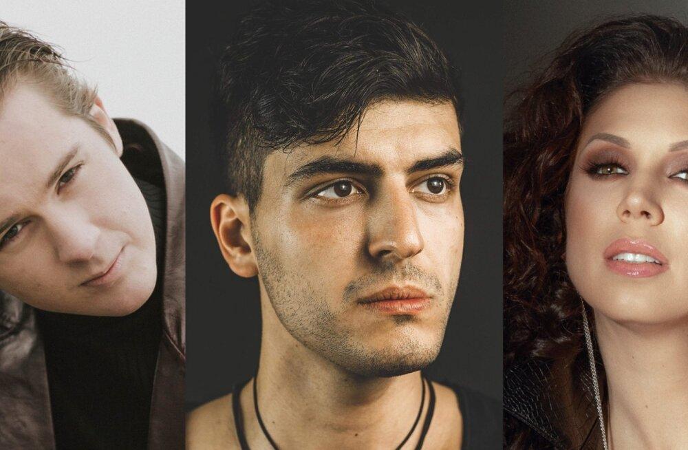 KROONIKA TOIMETUSE PUNKTIBÖRS hindas lauluvideote pealt esimesest poolfinaali medalikolmikusse Stefani (keskel), Rasmus Rändvee ja Laura.