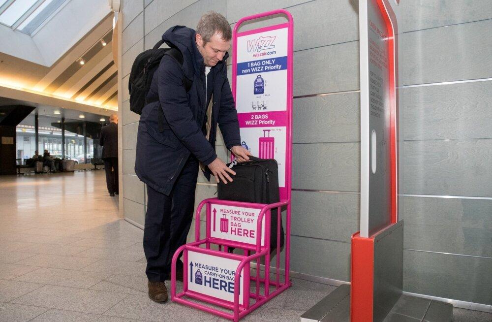 Wizz Airi ja ryanairiga lennates tuleb arvestada, et tasuta võimalik käsipagas, mis iga reisija kaasa saab võtta, on väga väike - seljakoti suurune.