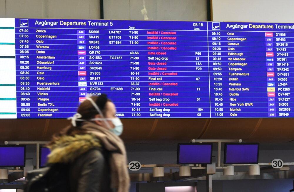 Paljud lennud on tühistatud, mis raskendab eestlaste tagasitulekut koju.