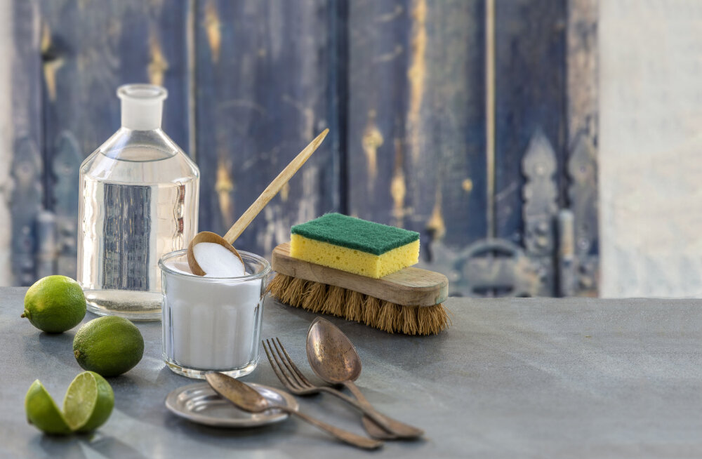 kodused puhastusvahendid, sooda, äädikas, booraks, sidrun